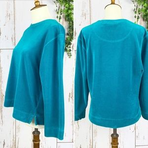 Nordstrom Turquoise Velour Long Sleeve Crew Top